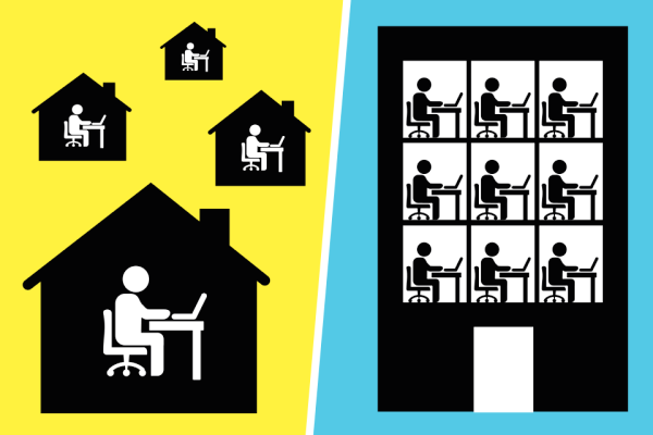 Graphic of working at home or working in the office to show learner engagement in the hybrid workplace